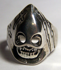 HOODED SKULL W CROSSES BIKER RING (Sold by the piece) *-  CLOSEOUT AS LOW AS $ 1.95