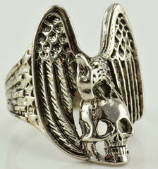 EAGLE WITH SKULL BIKER RING  (Sold by the piece)