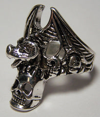 BAT HOLDING SKULL HEAD DELUXE BIKER RING (Sold by the piece)