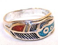 COLOR FEATHER BAND BIKER RING (Sold by the piece)