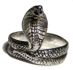 COBRA SNAKE DELUXE SILVER BIKER RING (Sold by the piece) **