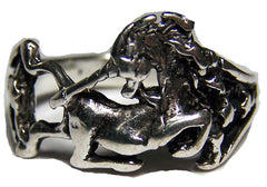 SITTING UNICORN ELUXE SILVER BIKER RING (Sold by the piece)
