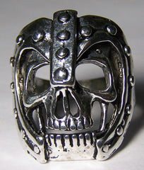 SKULL HEAD WITH ARMORED HELMET BIKER RING  (Sold by the piece) *