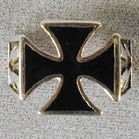 IRON CROSS WITH LIGHTNING BOLTS BIKER RING (Sold by the piece)