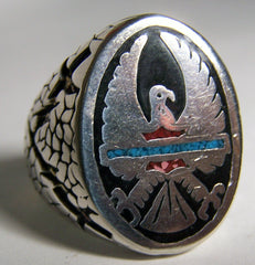 INLAYED EAGLE WINGS UP DELUXE BIKER RING  (Sold by the piece)