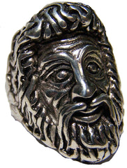 ZEUS GOD OF WAR SILVER DELUXE BIKER RING (Sold by the piece) *
