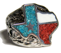 STATE OF TEXAS LONE STAR SILVER DELUXE BIKER RING (Sold by the piece) *