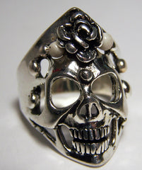 SKULL WITH SPIKES & ROSE BIKER RING (Sold by the piece)