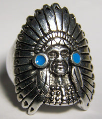 INDIAN WITH HEAD DRESS DELUXE BIKER RING (Sold by the piece) *