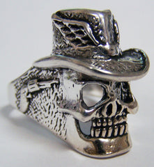 SKELETON SKULL HEAD WITH TOP HAT BIKER RING  (Sold by the piece)