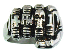 FIST WITH RINGS BIKER RING  (Sold by the piece)