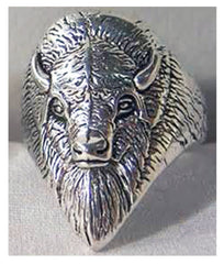 WILD BUFFALO HEAD BIKER RING  (Sold by the piece)