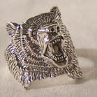 BEAR  HEAD ROARING DELUXE BIKER RING  (Sold by the piece)