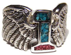NUMBER 1 WITH WINGS BIKER RING  (Sold by the piece) *-  CLOSEOUT AS LOW AS $ 2.95 EA