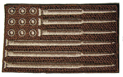 MILITARY DESERT BROWN  CAMO AMERICAN FLAG BULLET SHELL EMBROIDERED PATCH ( sold by the piece )
