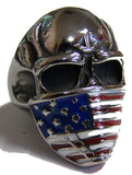 SKULL HEAD AMERICAN FLAG BANDANA STAINLESS STEEL BIKER RING ( sold by the piece ) * CLOSEOUT $ 3.95 EA
