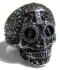 SUGAR SKULL HEAD W CROSS STAINLESS STEEL BIKER RING ( sold by the piece )
