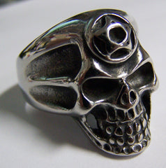 PENTAGRAM SKULL HEAD STAINLESS STEEL BIKER RING ( sold by the piece )