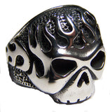 FLAMING SKULL HEAD  STAINLESS STEEL BIKER RING ( sold by the piece )
