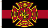 BLACK RED FIRE DEPT DEPARTMENT EMBLEM FLAG 3 X 5 FLAG ( sold by the piece )