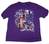 NEW INDIAN GIRL WITH WOLF & EAGLE TIE DYED SHORT SLEEVE TEE SHIRT (Sold by the piece)