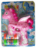 LIGHT UP PEGASUS UNICORN BUBBLE GUN WITH SOUND (sold by the piece )
