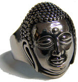BUDDHA HEAD STAINLESS STEEL BIKER RING ( sold by the piece )