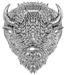 BUFFALO HEAD W HORNS STAINLESS STEEL BISON BIKER RING ( sold by the piece )