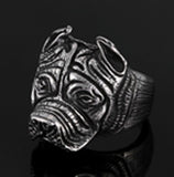 BULLDOG STAINLESS STEEL BIKER RING ( sold by the piece )