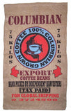 COLUMBIAN COFFEE BURLAP BAG ( sold by the piece )