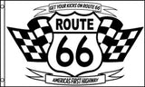 ROUTE 66 BLACK AND WHITE 3 X 5 FLAG ( sold by the piece )