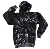 BLACK TORNADO SWIRL TIE DYED HOODIE (sold by the piece )