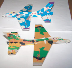 CAMOUFLAUGE 8 INCH FLYING GLIDER AIRPLANES (Sold by the dozen) -* CLOSEOUT NOW ONLY 10 CENTS EA