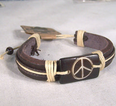 CARVED BONE LEATHER PEACE SIGN BRACELET (Sold by the PIECE OR dozen)