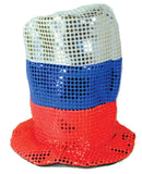 RED WHITE BLUE SPARKLE PARTY CARNIVAL HAT (Sold by the piece) * CLOSEOUT 2.00 EACH