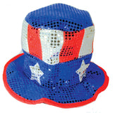 AMERICAN FLAG RED WHITE BLUE SPARKLE PARTY CARNIVAL HAT (Sold by the piece) * CLOSEOUT 2.50 EACH