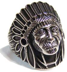INDIAN CHIEF FACE W BONNET STAINLESS STEEL BIKER RING ( sold by the piece )
