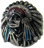 NATIVE STYLE INDIAN CHEIF W BONNET STAINLESS STEEL BIKER RING ( sold by the piece )