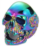 COLORFUL METALLIC SKULL HEAD STAINLESS STEEL BIKER RING ( sold by the piece )