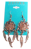 SOLID COPPER KOKOPELLI DANCING INDIAN MAN DREAM CATCHER DANGLE EARRINGS  ( sold by the  piece )