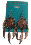 SOLID COPPER EAGLE DREAM CATCHER DANGLE EARRINGS  ( sold by the  piece )