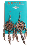 SOLID COPPER END OF TRAIL DREAM CATCHER DANGLE EARRINGS  ( sold by the  piece )