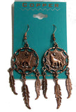 SOLID COPPER HOWLING WOLF DREAM CATCHER DANGLE EARRINGS  ( sold by the  piece )