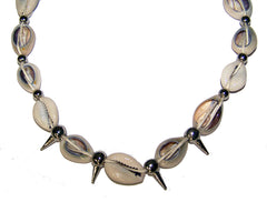 COW SHELL NECKLACE / CHOKER WITH SILVER SPIKES (Sold by the piece or dozen) - * CLOSEOUT NOW ONLY .50 CENTS EA