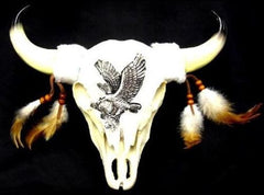 LARGE 12 INCH POLY RESIN COW SKULL EAGLE DESIGN (Sold by the piece) CLOSEOUT NOW $9.50 EA