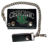 CHRONIC MARIJUANA POT LEAF TRIFOLD LEATHER WALLETS WITH CHAIN (Sold by the piece)