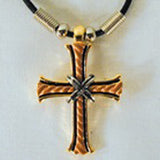 3D MULTICOLOR METAL CROSS ROPE NECKLACE (sold by the piece or dozen )