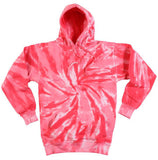 CORAL PINK TORNADO SWIRL TIE DYED HOODIE (sold by the piece ) CLOSEOUT $ 11.50 EA