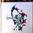 SKULL THRU FLAG DECALS / STICKER (Sold by the dozen) CLOSEOUT NOW ONLY 25 CENTS EA