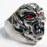 DEMON MONSTER W RED CRYSTAL EYES STAINLESS STEEL BIKER RING ( sold by the piece )